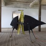 Stefan Radu Cretu - MoonFish, 2011, metal, glass fiber, aluminium, electric components, 177 x 233 x 86 cm