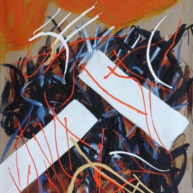 Edo Murtic - Conversation, 2002, oil on canvas, 195×130 cm