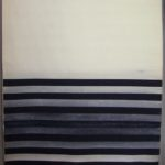 Vincentiu Grigorescu - Striature nero e bianco, 1975, acrylic on canvas, 175x114 cm