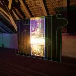 Albert Kaan - Through blank space, 2018, wire, steelboard, paint, el-wire, 100x130x10 cm
