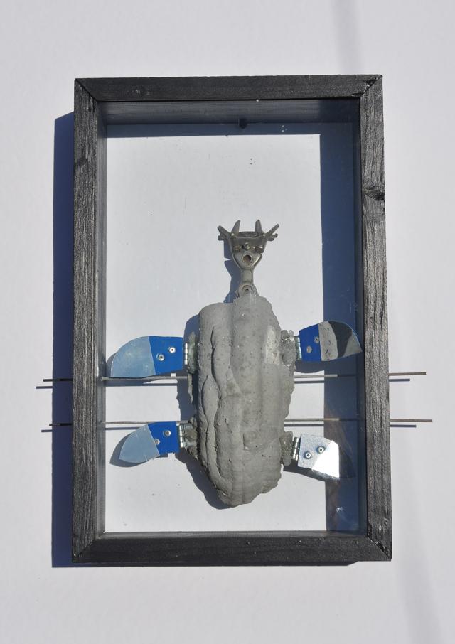 Stefan Radu Cretu - Weevil, cement fiberglass, metal, wood, 43x37x9 cm
