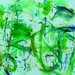 Andrej Jemec - Blue Green, 2018, acrylic, canvas, 140 x 160 cm