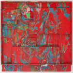 Romul Nutiu - Red Assemblage, 1969, mixed technique on wooden panel, 95x95x11 cm