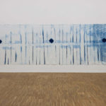 "Simon Iurino - ""o.T. (Ausstallung)"", 2015, cyanotype on cotton, 850x300 cm"