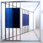 "Simon Iurino - ""out of the blue"", 2018, cyanotype on mirror, mixed media, 280x200x200 cm"