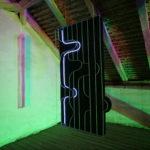Albert Kaan - Untitled 1, 2018, wire, steelboard, paint, el-wire, 170x120x10 cm