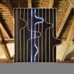 Albert Kaan - Untitled 2, 2018, wire, steelboard, paint, el-wire, 170x120x10 cm