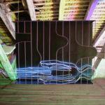 Albert Kaan - UNTITLED, 2018, wire, steelboard, paint, el-wire, 130 x 100 cm