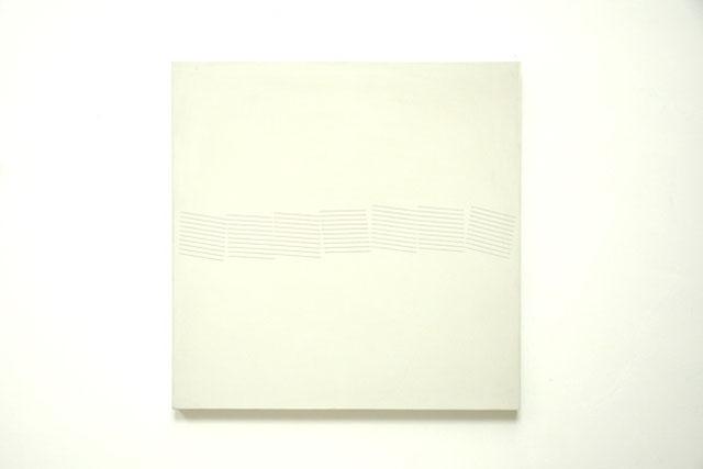 Fuge Schraffuren 1983, acrylic on canvas on wood, 150 x 150 cm