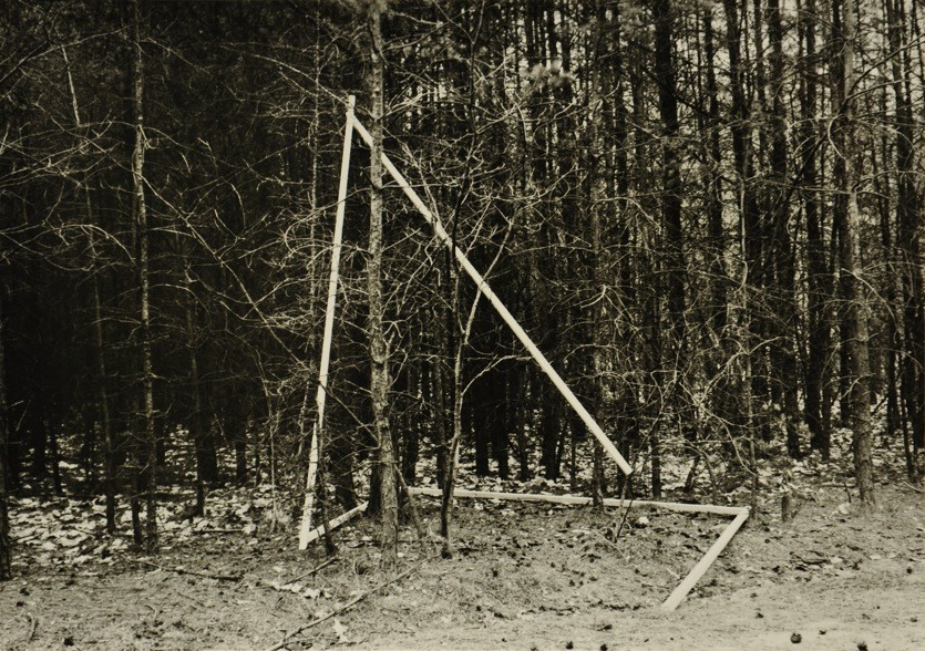 DIET SAYLER – FOREST INSTALLATION III 1981, Kraftshofer Forst, Nuremberg, five wooden sticks, 350x4x4 cm, gelatin silver print on paper, 46x66 cm, Edition 2/7