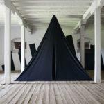 STEFAN RADU CRETU - BLACK PYRAMID, 2019, textile, 400x425x425 cm