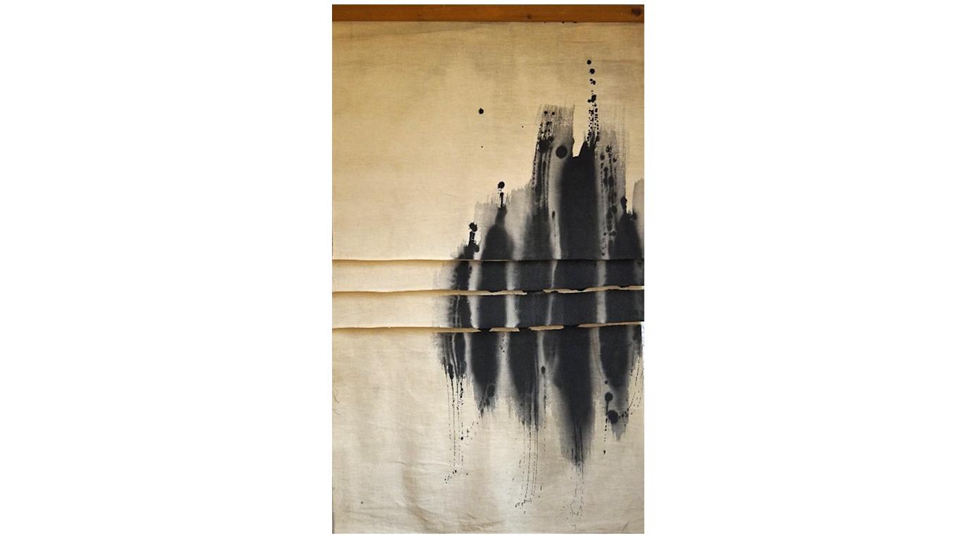 Vincentiu Grigorescu - Sfogliatura 3, 1972-73, acrylic on canvas (untreated cotton), 110 x 65 cm_web