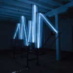 Albert Kaan - Frequency ship to gravity, 2018, square pipe mesh, el-wire, marker, 260x500x50-cm, by night