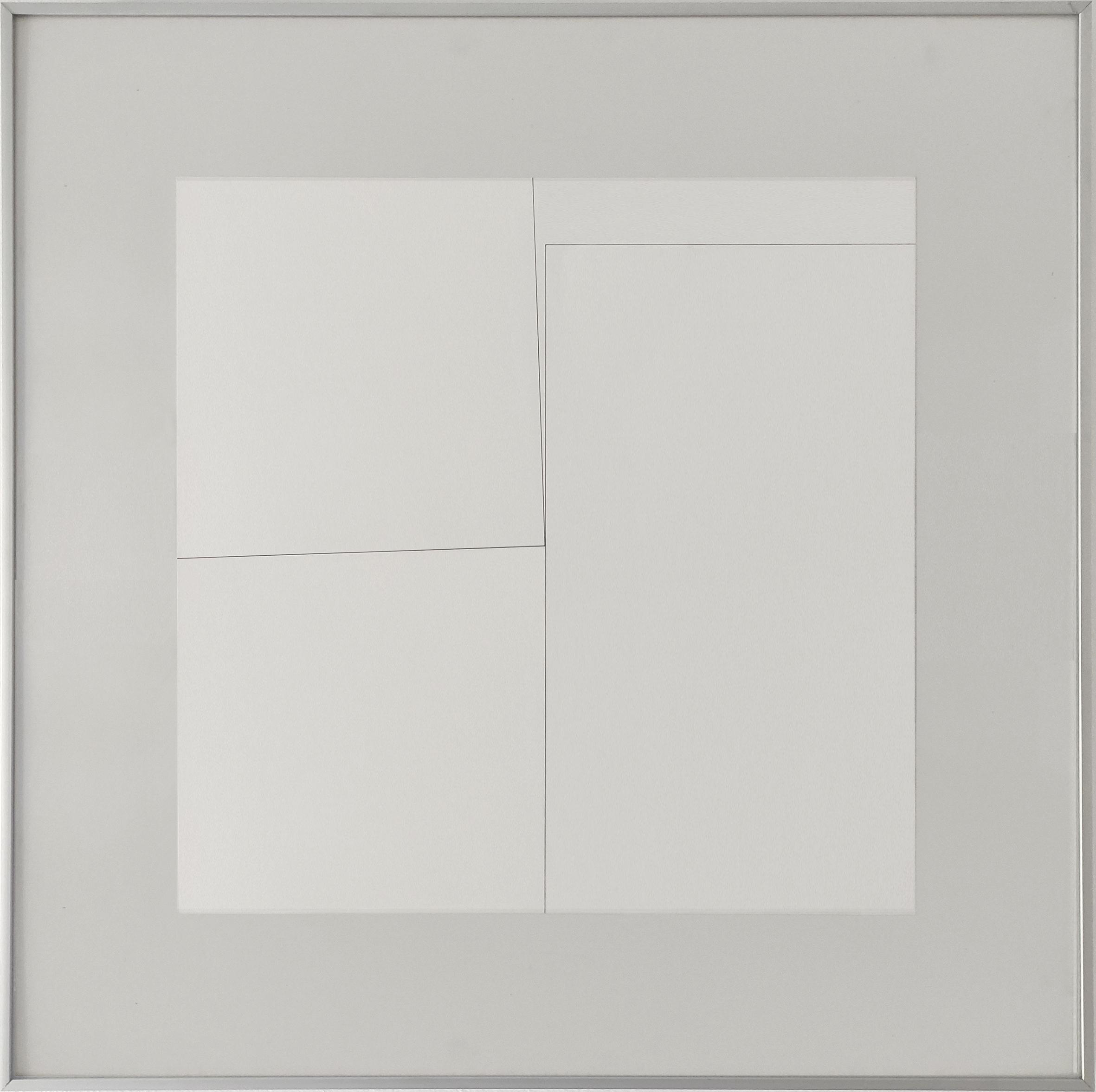 Diet Sayler, Veränderung 14, 1978, Tusche auf Bütten, 48x48 cm, Alu 70x70cm